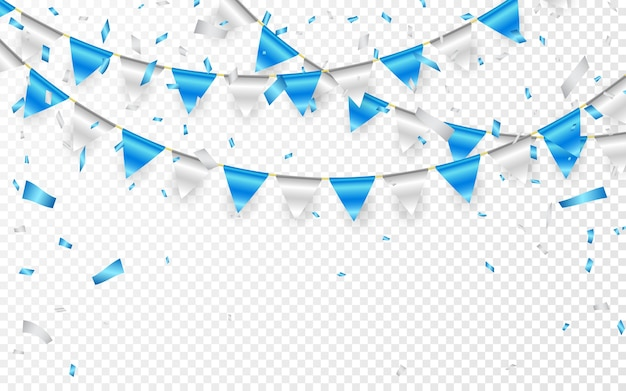 Celebration party banner. blue and silver foil confetti and flag garland.