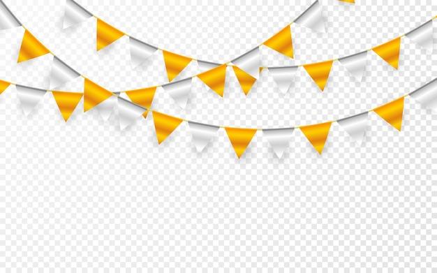 Баннер партии празднования. конфетти из золотой и серебряной фольги и флаг-гирлянда.