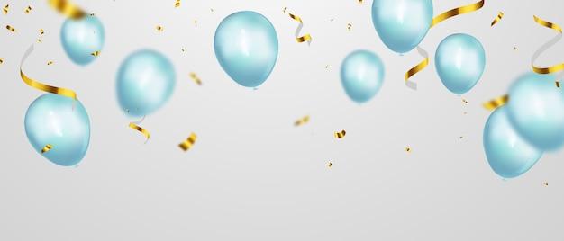 青い色の風船の背景とお祝いパーティーバナー。セール 。グランドオープニングカードの豪華な挨拶が豊富。