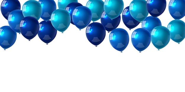 Празднование партии баннер с синим цветом фона воздушных шаров. продажа векторные иллюстрации. карточка торжественного открытия роскошного приветствия богатых. шаблон кадра.