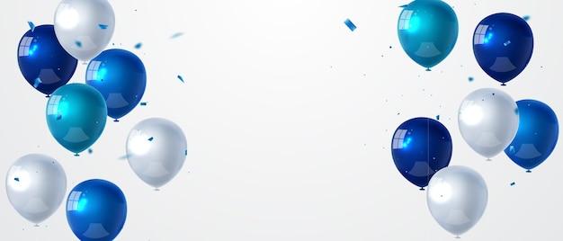 青い色の風船の背景とお祝いパーティーバナー