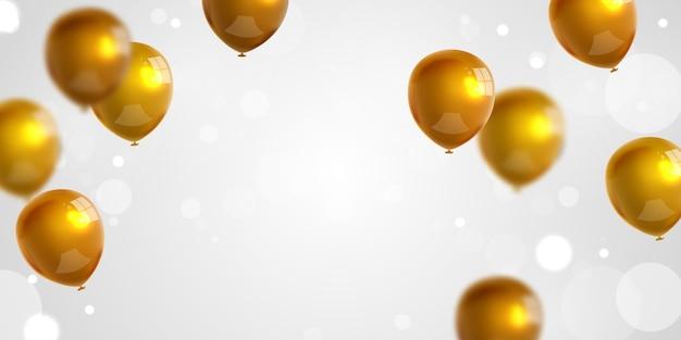 ゴールドの風船の背景とお祝いパーティーバナー。セール 。グランドオープニングカードの豪華な挨拶が豊富。