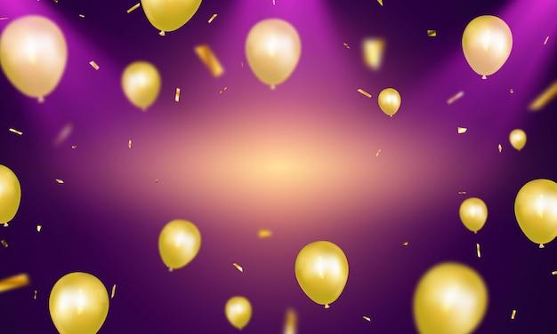 ゴールドの風船の背景を持つお祝いパーティーバナー。販売イラスト。豪華なオープニングカードの豪華な挨拶。