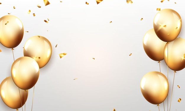 Празднование партии баннер с фоном золотые шары. продажа векторные иллюстрации. карточка торжественного открытия роскошного приветствия богатых.