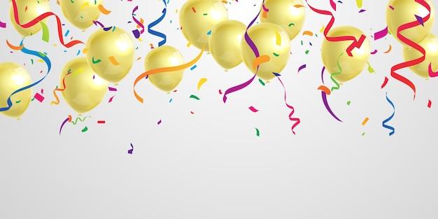 金の風船とお祝いパーティーバナー