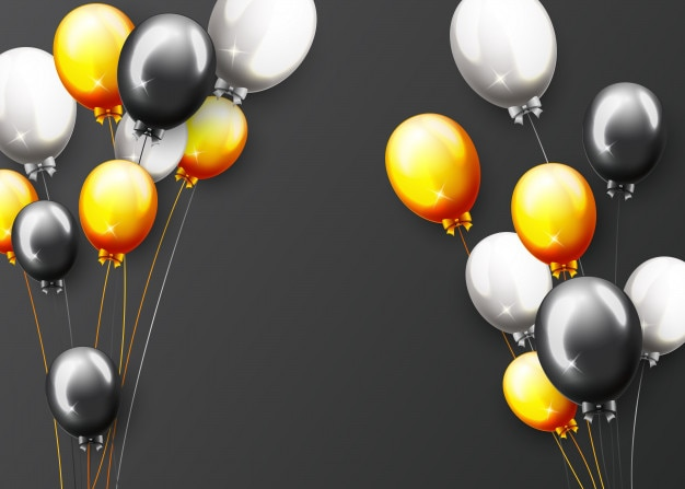 Celebration party banner with golden balloons and confetti