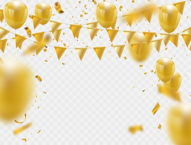 Celebration party banner with golden balloons