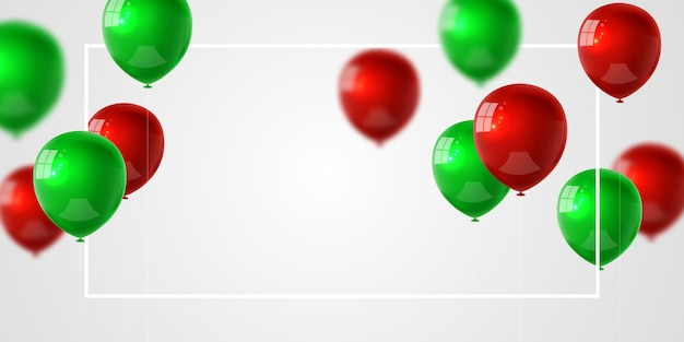 緑の赤い風船の背景とお祝いパーティーバナー。セール 。グランドオープニングカードの豪華な挨拶が豊富。