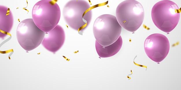 ピンクの風船の背景とお祝いパーティーバナー。セール 。グランドオープニングカードの豪華な挨拶が豊富。