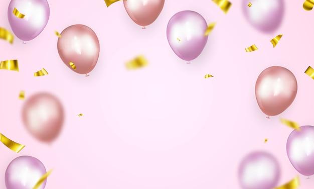 ピンクの風船の背景を持つお祝いパーティーバナー。販売イラスト。豪華なオープニングカードの豪華な挨拶。