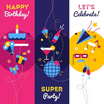 Celebration party and birthday banners with gifts petard bottle of champagne and cake
