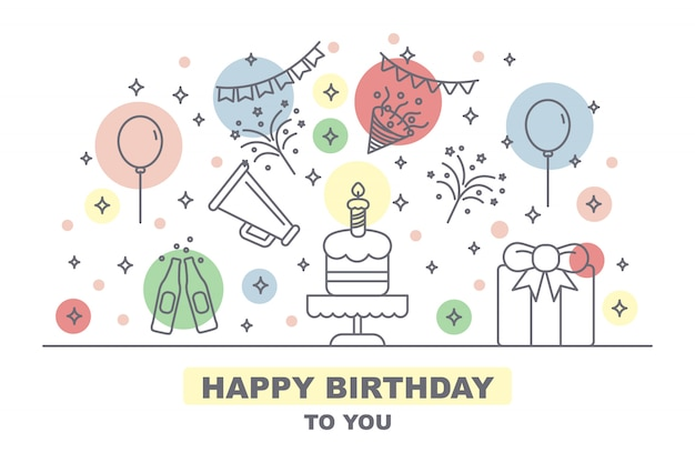Celebration party card with outline icons elements