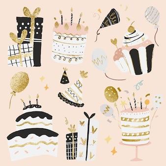 Celebration party sticker vector set