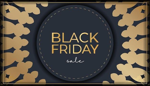 Шаблон продвижения празднования черная пятница распродажа темно-синий роскошный золотой узор