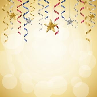 Celebration streamers and stars on golden background
