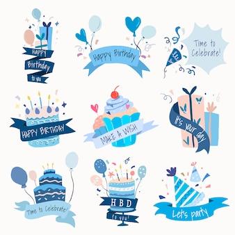 Celebration template sticker, birthday party vector set