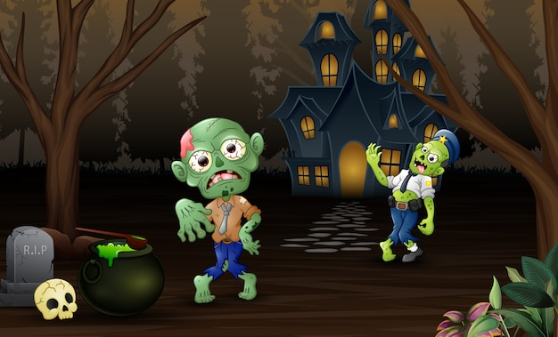 Celebration two zombie outdoors with haunted house background