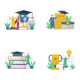 Celebration of university graduation speeches and the distribution of diplomas   illustration,