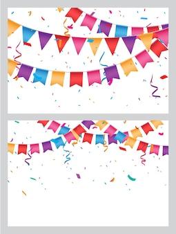カラフルなホオジロ旗でお祝い