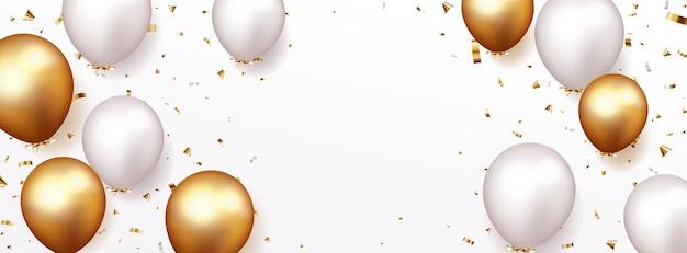 金の紙吹雪と風船でお祝い