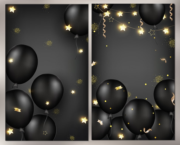 Celebrations background with black balloons, garlands, gold serpentine, confetti, sparkles.template for banner, greeting card or sales.  illustrations.