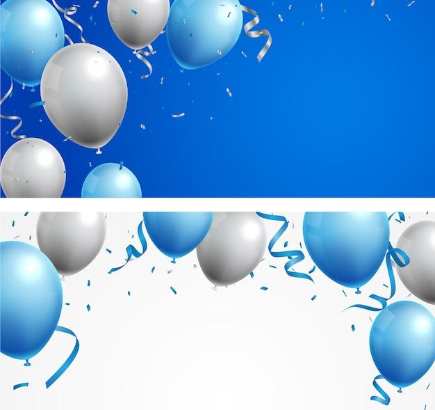 Баннер торжества с синими и серебряными шарами