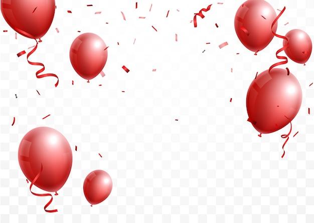 Баннер торжества с красным и серебряным шаром