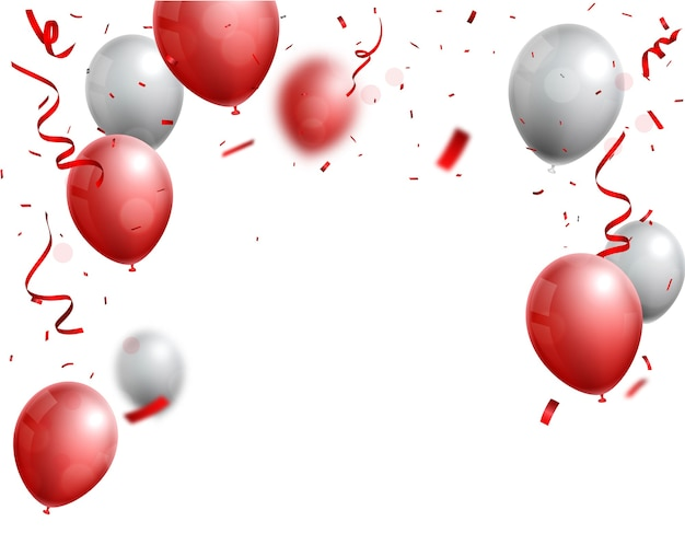 Celebrations with red and silver balloon
