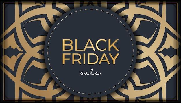 Праздничная реклама черная пятница распродажа темно-синего цвета с древним золотым орнаментом
