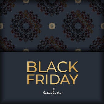Celebratory advertising for black friday sales dark blue with a round pattern