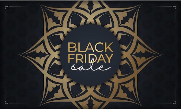 Праздничная реклама черной пятницы темно-синего цвета с греческим золотым узором