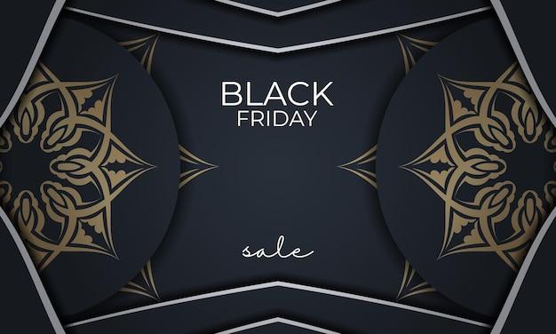 Праздничная реклама черной пятницы темно-синего цвета с греческим золотым орнаментом
