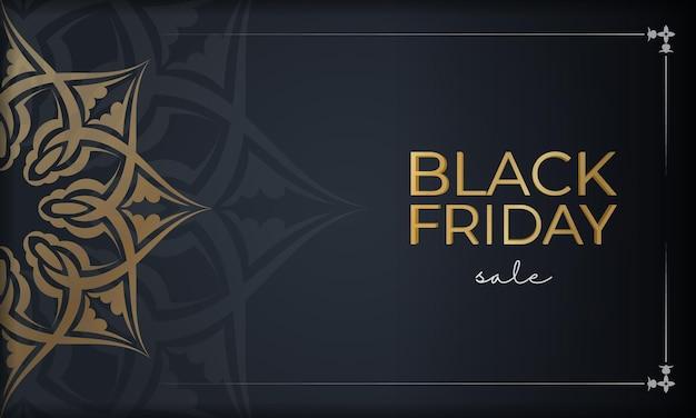 Праздничная реклама черной пятницы темно-синего цвета с круглым золотым орнаментом