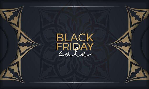 Праздничная реклама черной пятницы темно-синего цвета с геометрическим золотым орнаментом