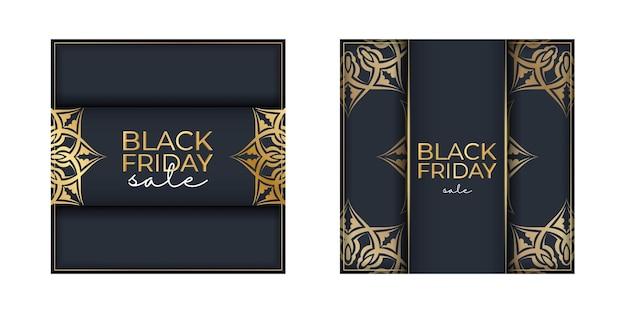 Праздничная реклама черной пятницы темно-синего цвета с роскошным золотым узором
