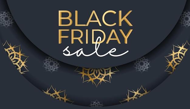 Праздничная реклама распродаж в черную пятницу темно-синего цвета с греческим золотым узором