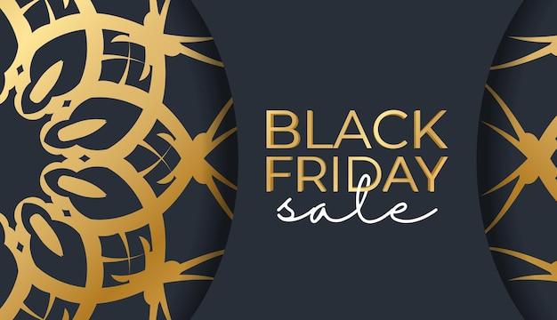 Праздничная реклама распродаж черной пятницы темно-синего цвета с абстрактным золотым узором