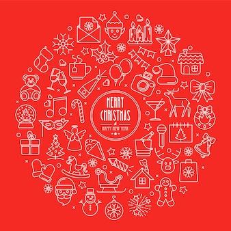 円に配置されたクリスマスと新年の輪郭アイコンのお祝いの背景