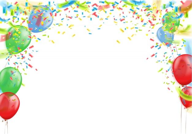 컬러 리본 및 색종이 깃발, 화려한 풍선 비행 기념 배경 흰색 패턴입니다. 삽화