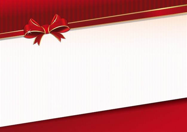 赤いリボンと厳粛なイベントのための弓のお祝い背景。グリーティングカードのテンプレートです。