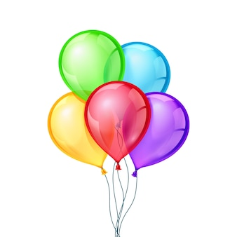 Celebratory balloons on isolated background