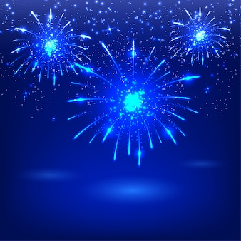 Celebratory fireworks on a blue background. card. vector illustration.