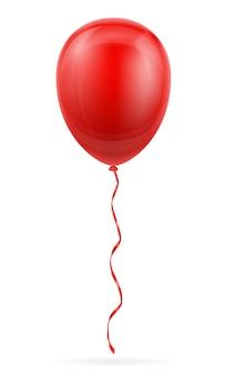 Праздничный красный шар накачал гелий с лентой на белом