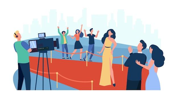 파파라치에 포즈를 취하고 레드 카펫을 따라 걷는 유명인은 평면 그림을 격리합니다. 유명한 영화 배우를 인사하는 만화 사람들