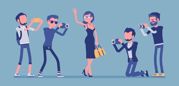 Знаменитости и журналисты. молодая элегантная звезда, известные известные личности, мужчины из газет или журналов, фотографирующие ее, средства массовой информации, собирающие горячие новости. векторная иллюстрация с безликими персонажами