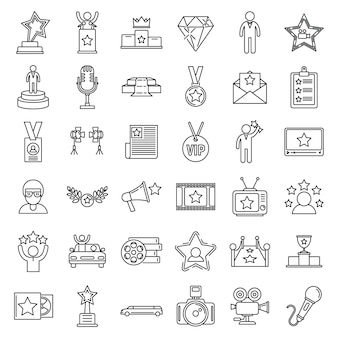 Celebrity famous icons set