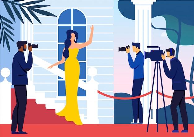 Celebrity on red carpet flat vector illustration