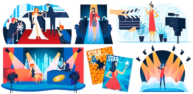Celebrity star people on red carpet ector illustration set, cartoon flat celebrity superstar, fashion model posing for paparazzi