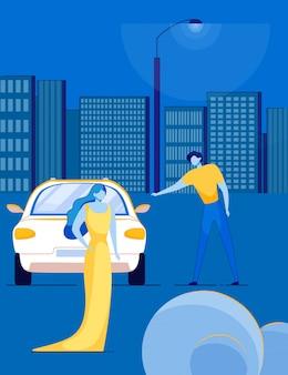 Знаменитости суперзвезда и телохранитель открывает лимузин.