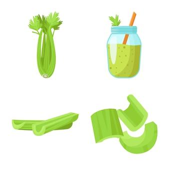セロリ食品ベクトル漫画アイコンセット。ベクトル分離イラストサラダofvegeterian。セロリ野菜のアイコンセット。